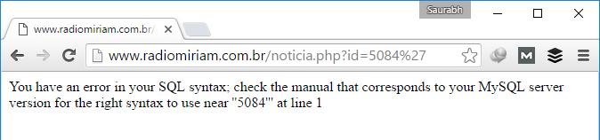 SQL Vulnerable URL