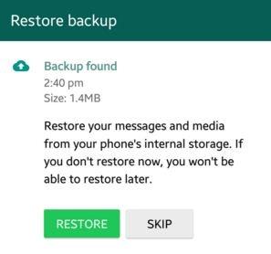 backup found