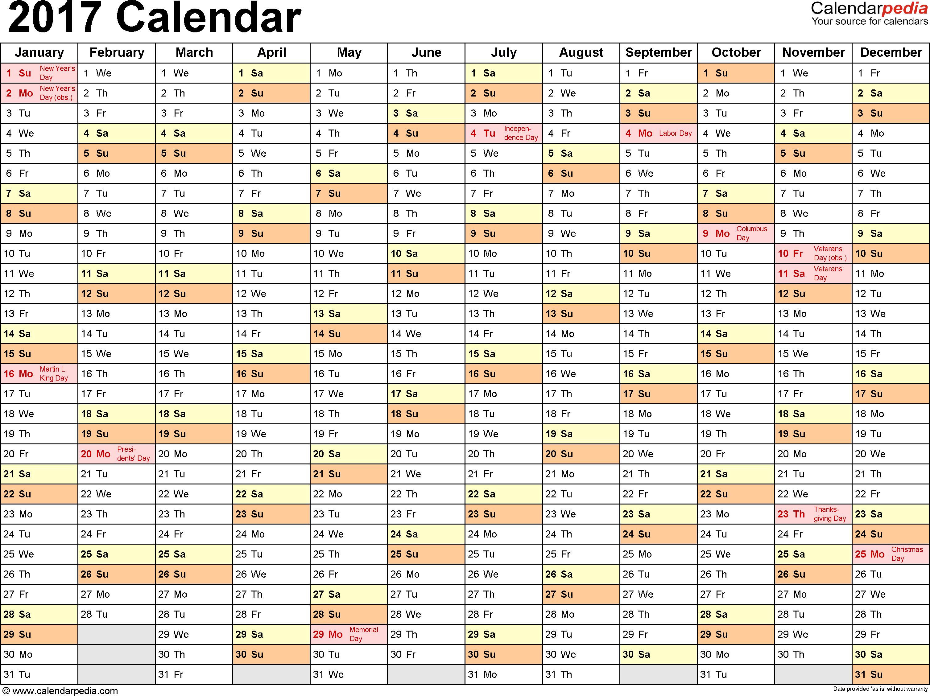 2017 Blank Calendar Template