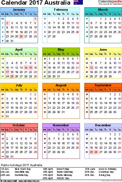 Australia Calendar 2017