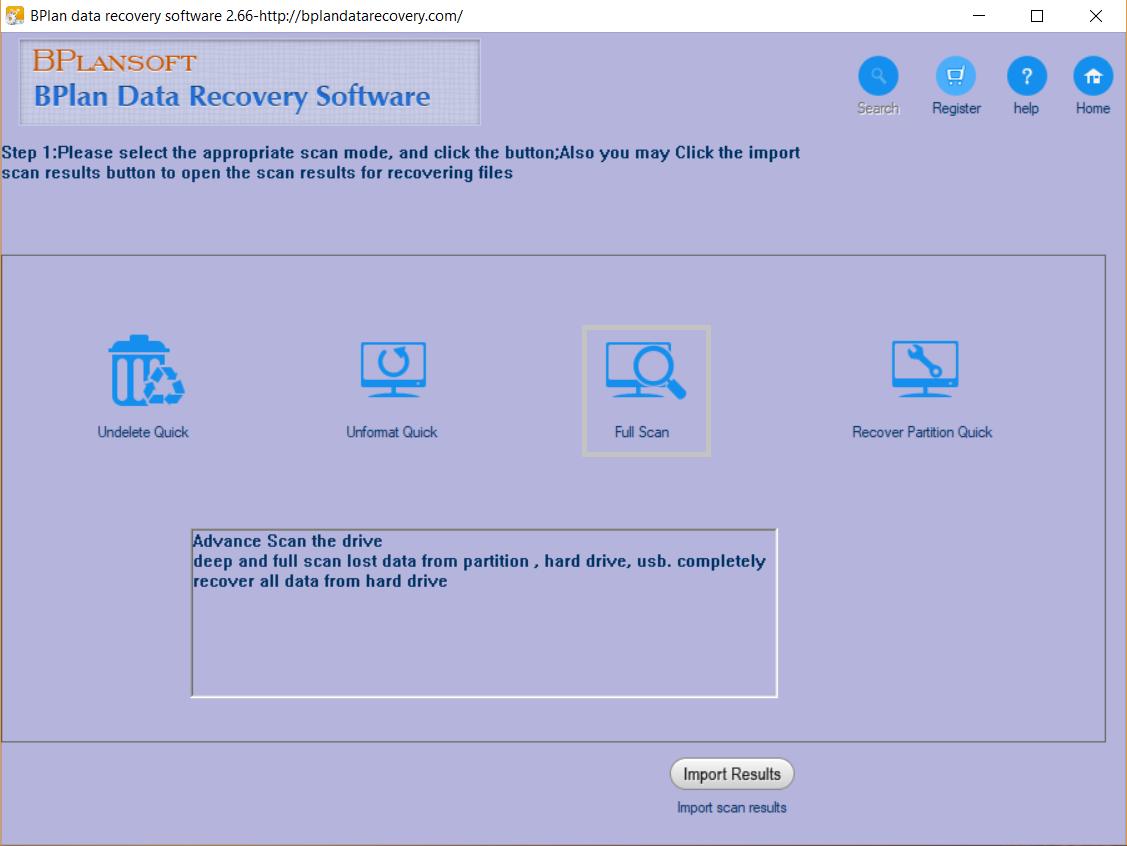 Bplan Data Recovery Main Screen