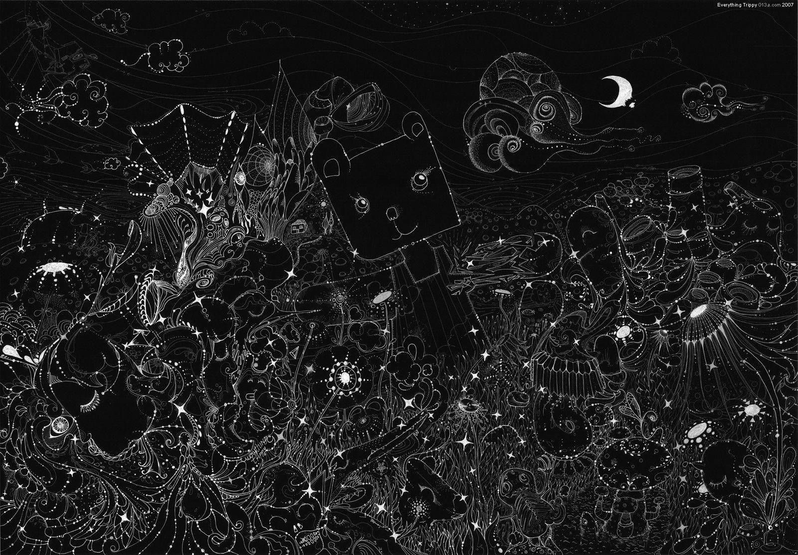 Black Trippy Background