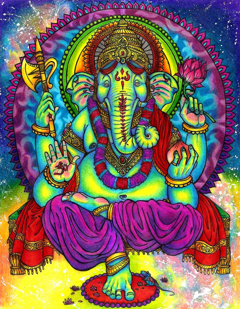 Ganesha Psychedelic Wallpaper