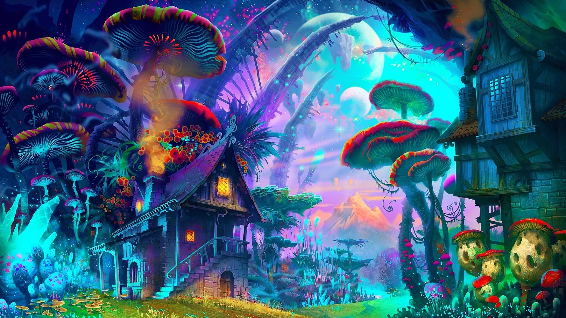 Mushroom Psychedelic Wallpaper