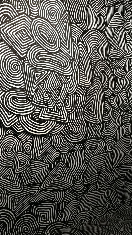 Vintage Psychedelic Wallpaper Black White