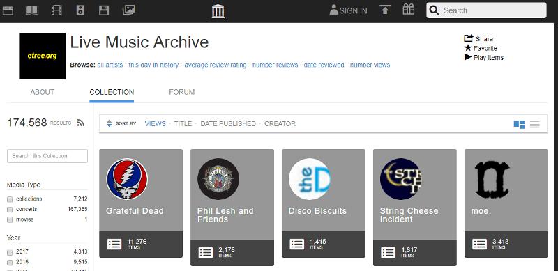 Live Music Archive Internet Archive Plex Plugin