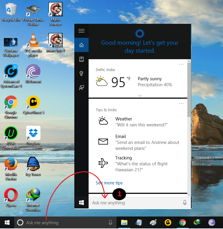 Cortana's Windows 10 Panel