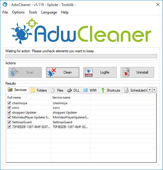 AdwCleaner v5.119 Scan Result