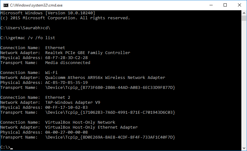 Command Prompt MAC Address List