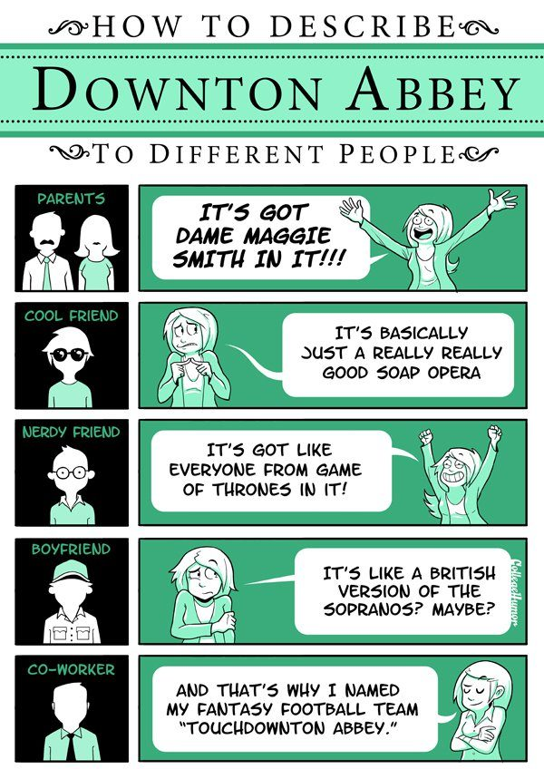 How To Describe Downton Abbey To Different People Infographic