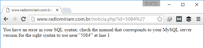 SQL Vulnerable URL