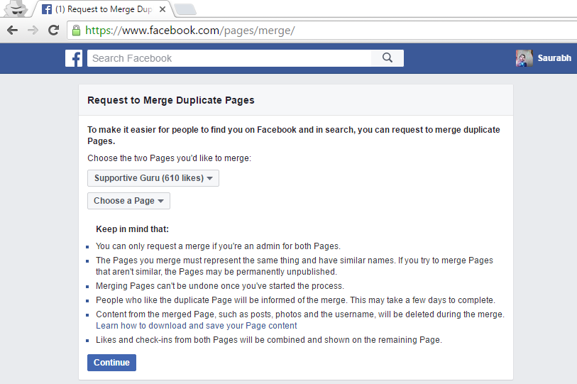 Merge Duplicate Pages