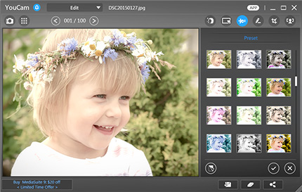 photo editing workspace cyberlink youcam 7