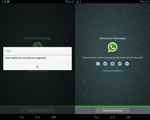 WhatsApp Android Tablet