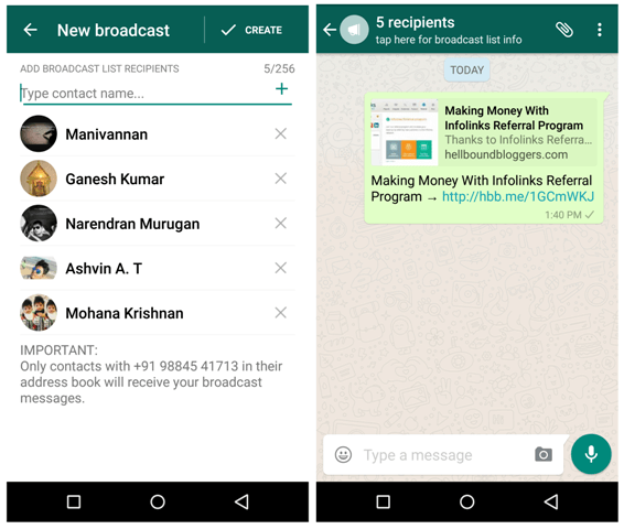 WhatsApp Broadcast Mmessage