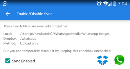 whatsapp dropbox media sync