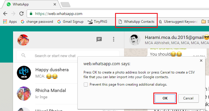 whatsapp web bookmarklet