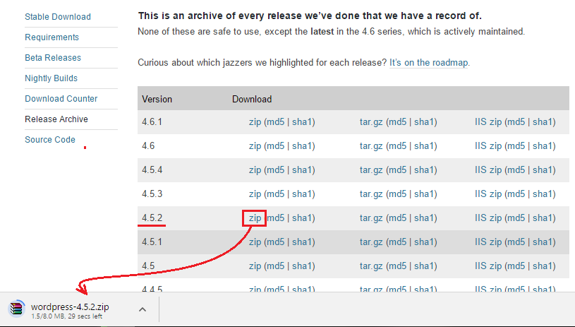 WordPress Release Archives