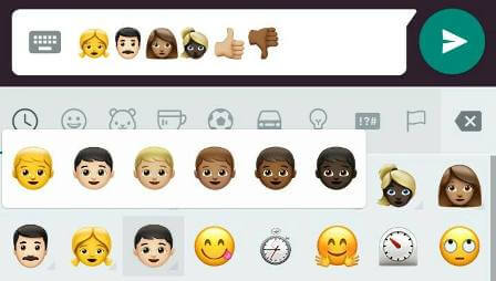 different shades whatsapp emoji