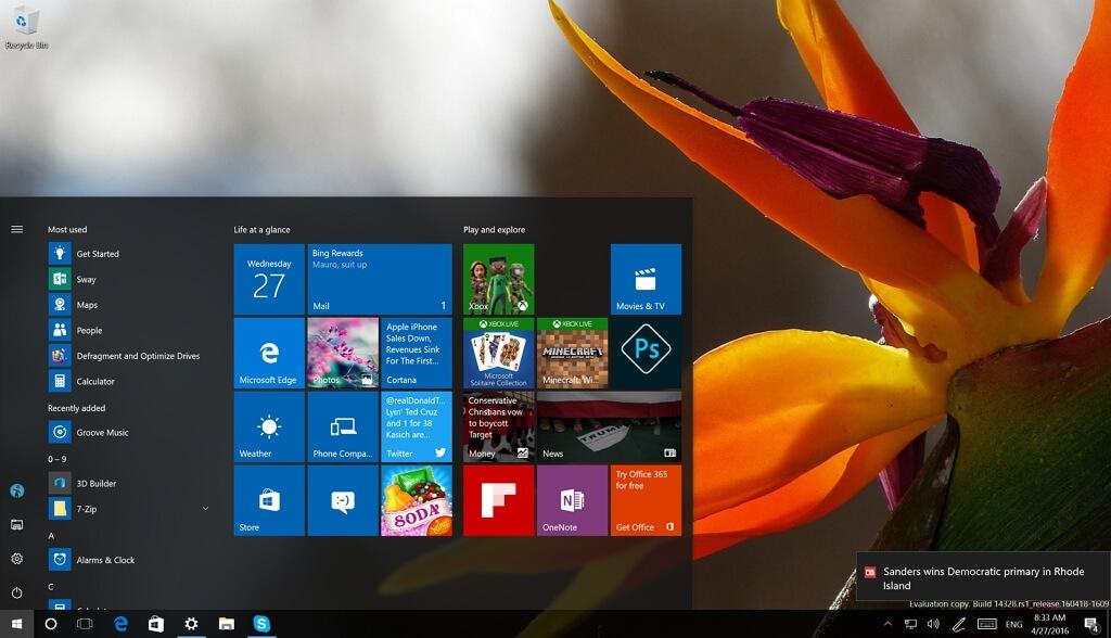 Windows 10 Operating System Desktop