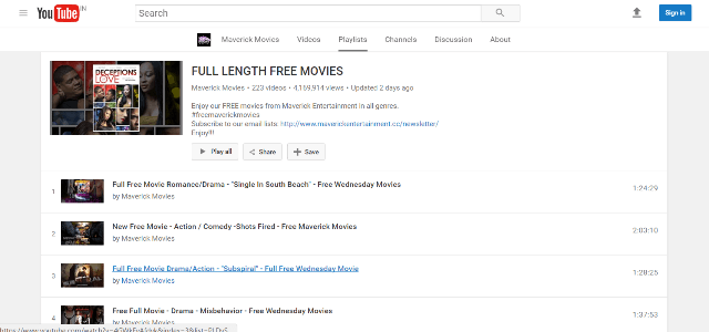 YouTube Movies Full Length