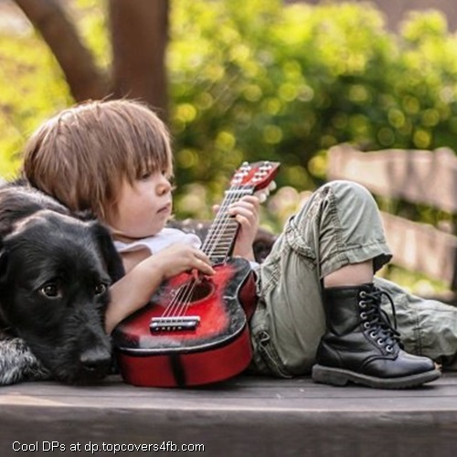 Cool Boy With Hat And Guitar Amazing Facebook Profile Picture