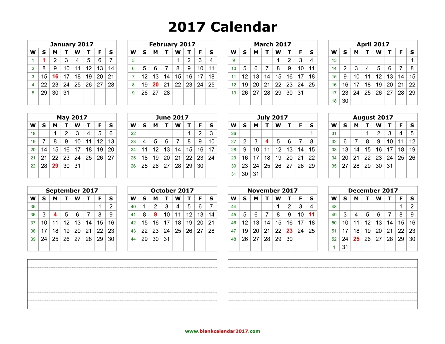 Blank Calendar 2017 : Calendar important templates of