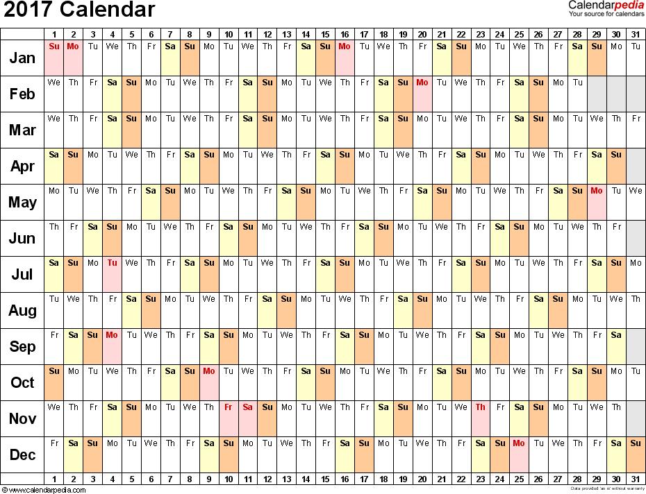 2017 Linear Calendar Printable