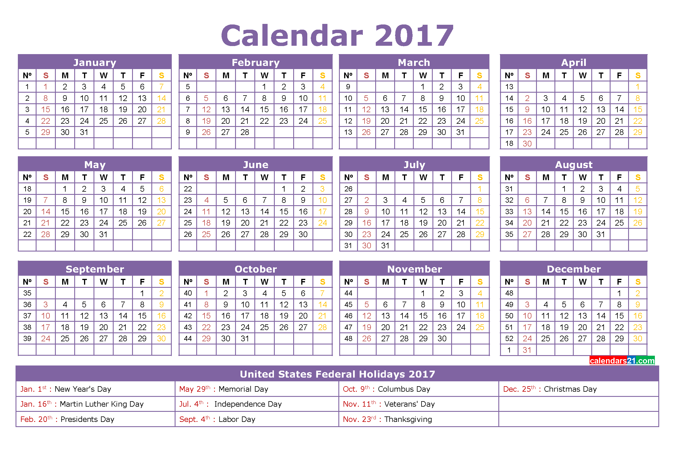 Calendar Year With Holidays : Calendar important templates of