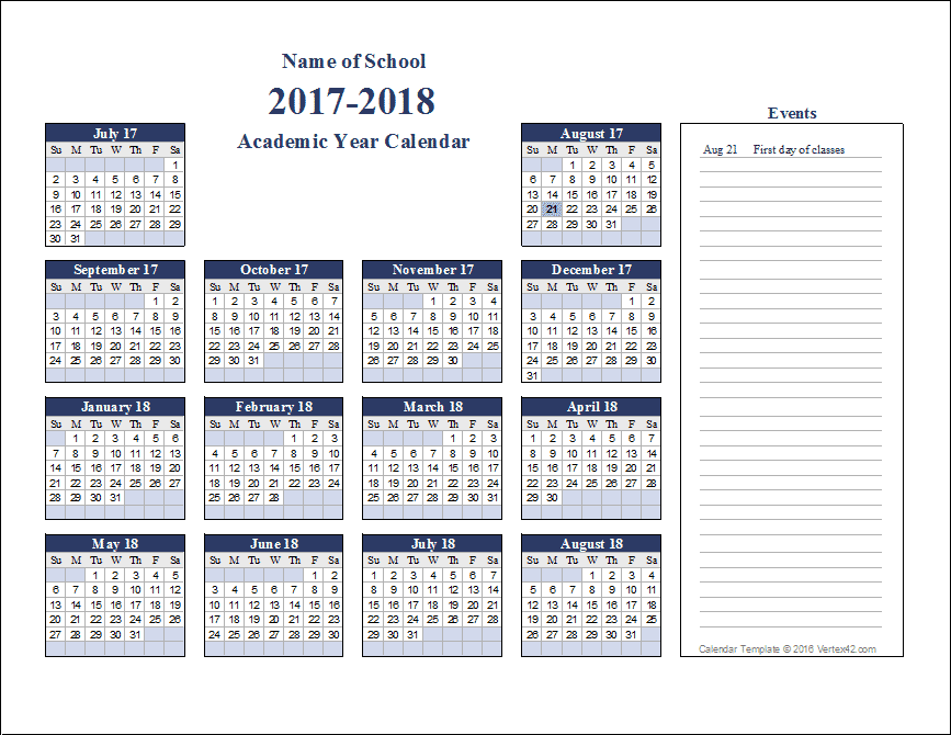 school calendars 2017 2018 as free printable pdf templates