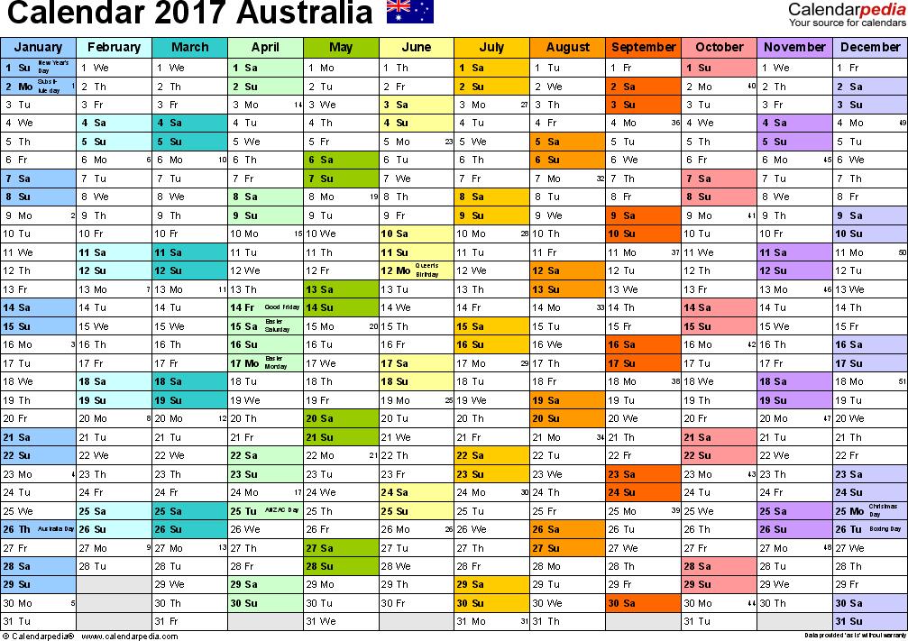 Australian Blank Calendar 2017