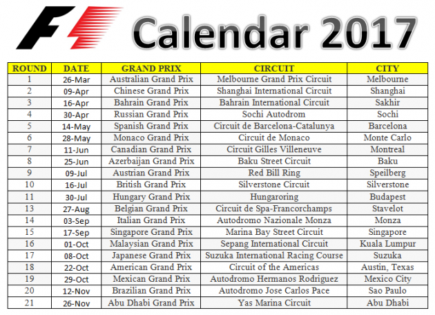Car Race Schedules