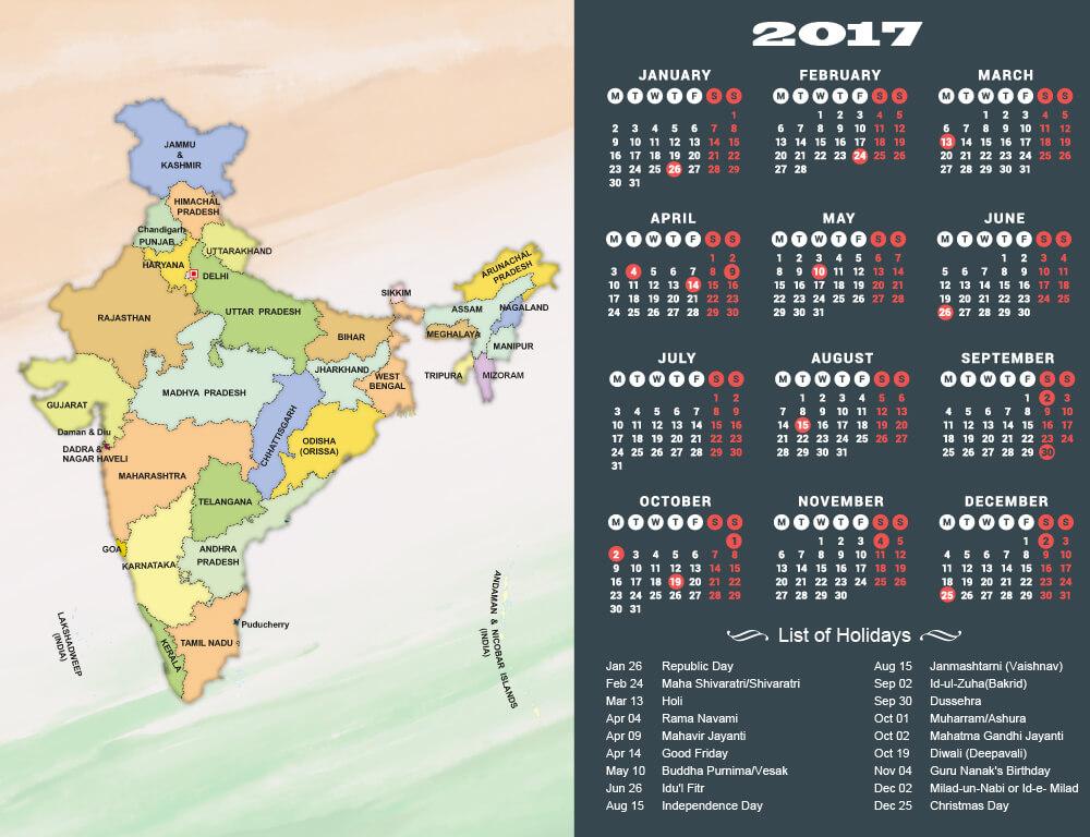 Indian Calendar 2017 with Holidays