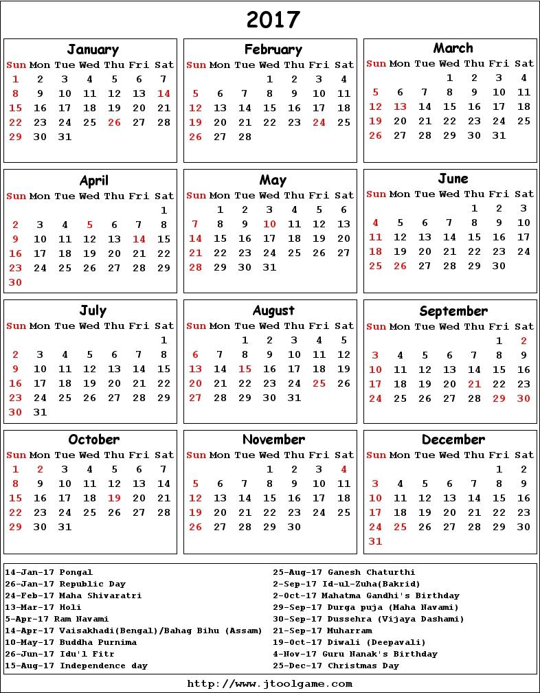 calendar 2017 and 2017 printable