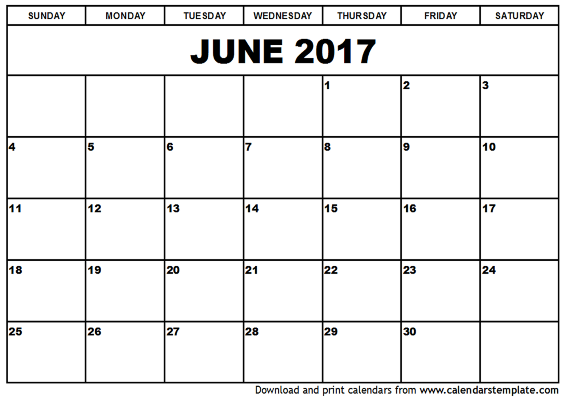 june 2017 printable calendar template