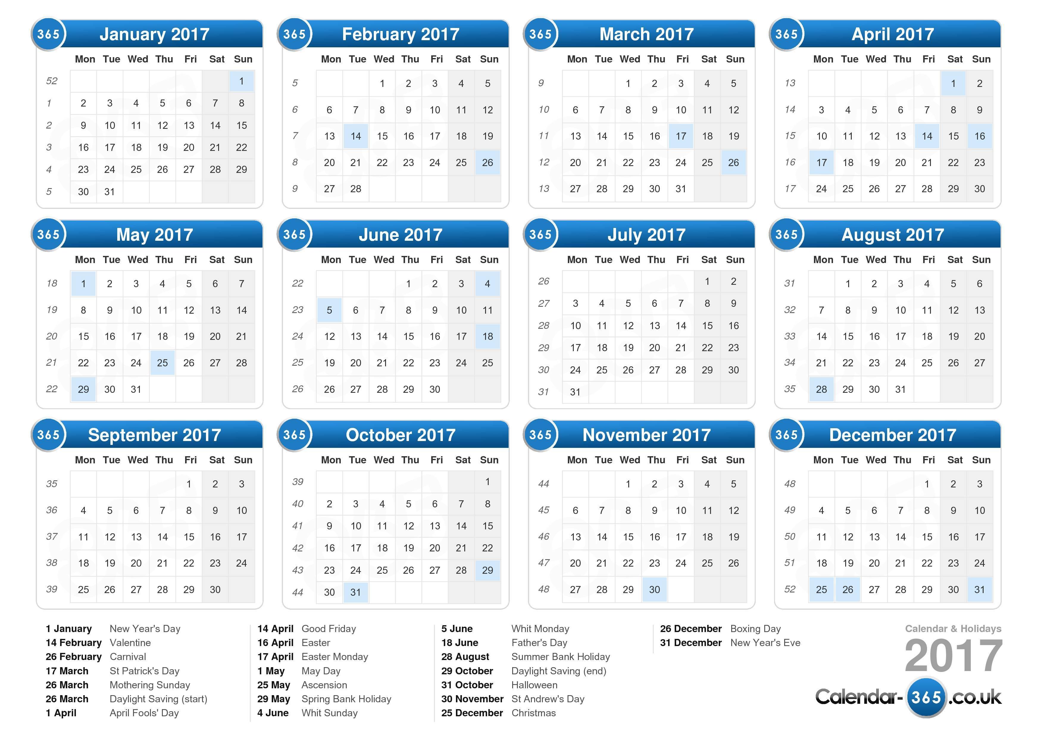 UK Online Calendar 2017