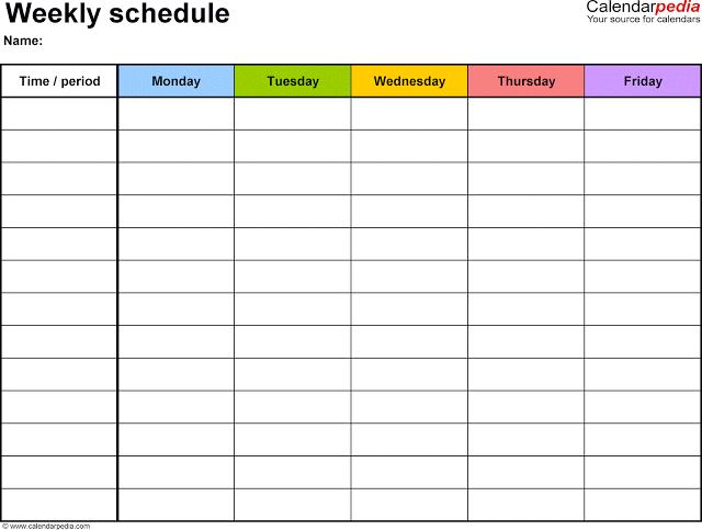Weekly Timetable Calendar 2017 Template
