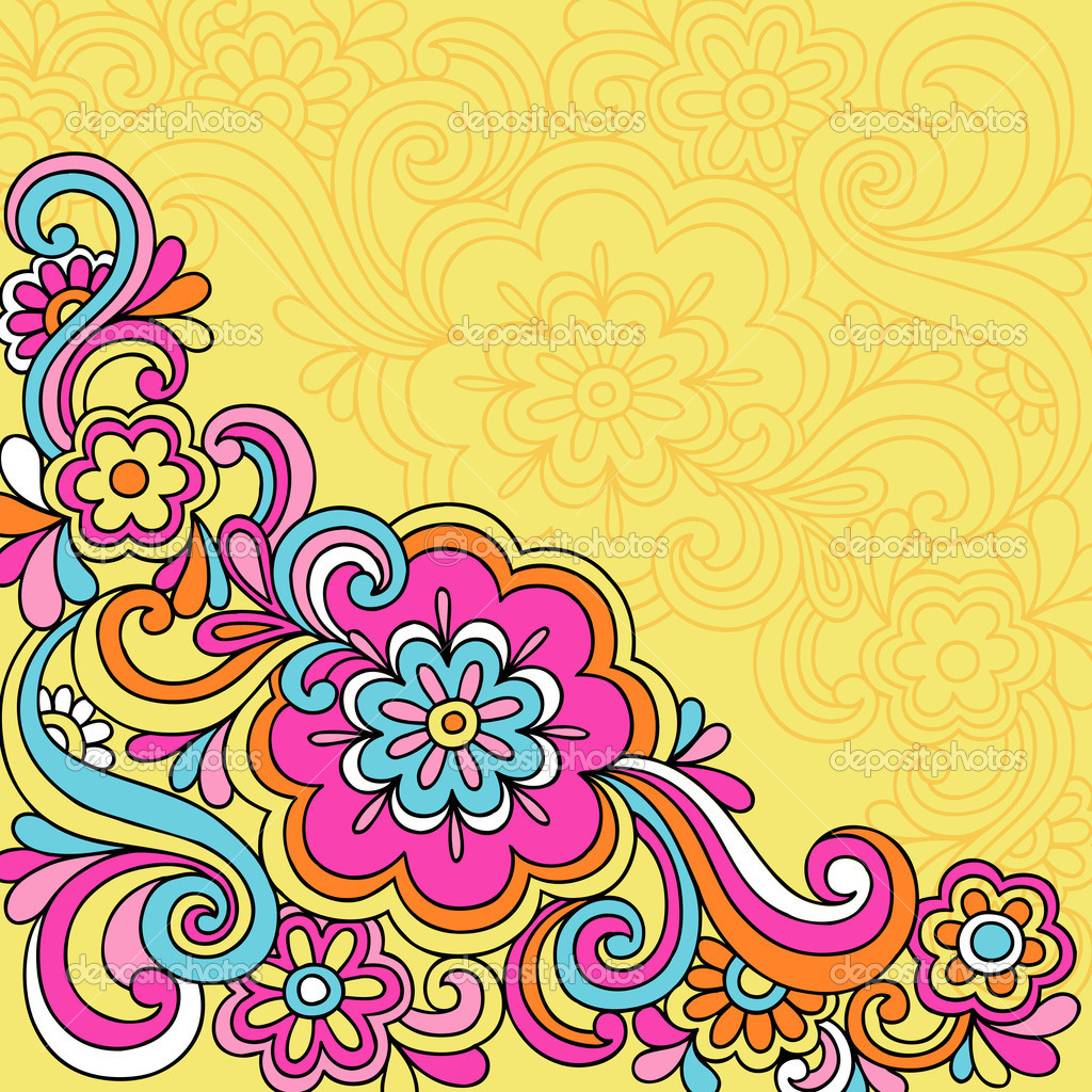 60s Psychedelic Background Vector