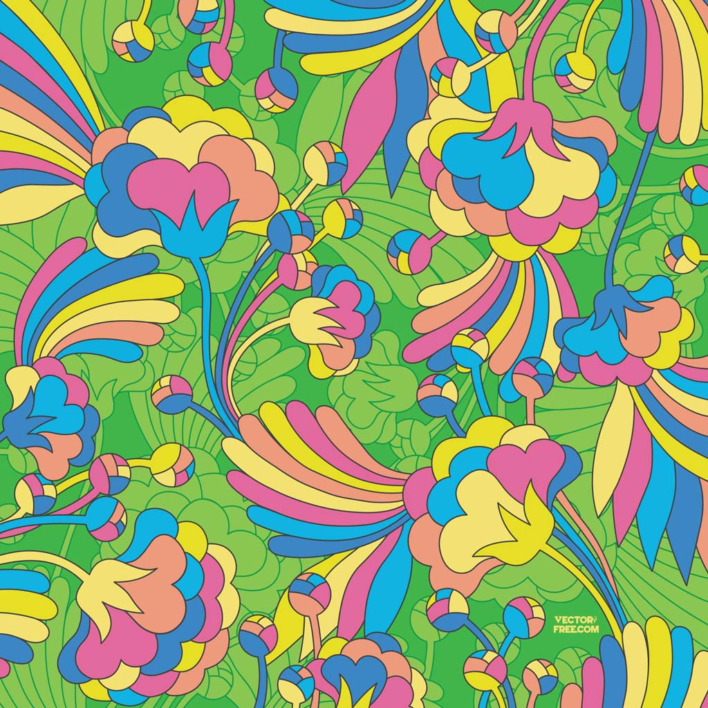84 1960s Wallpaper Patterns Funky Flora Lime Green Retro Flock