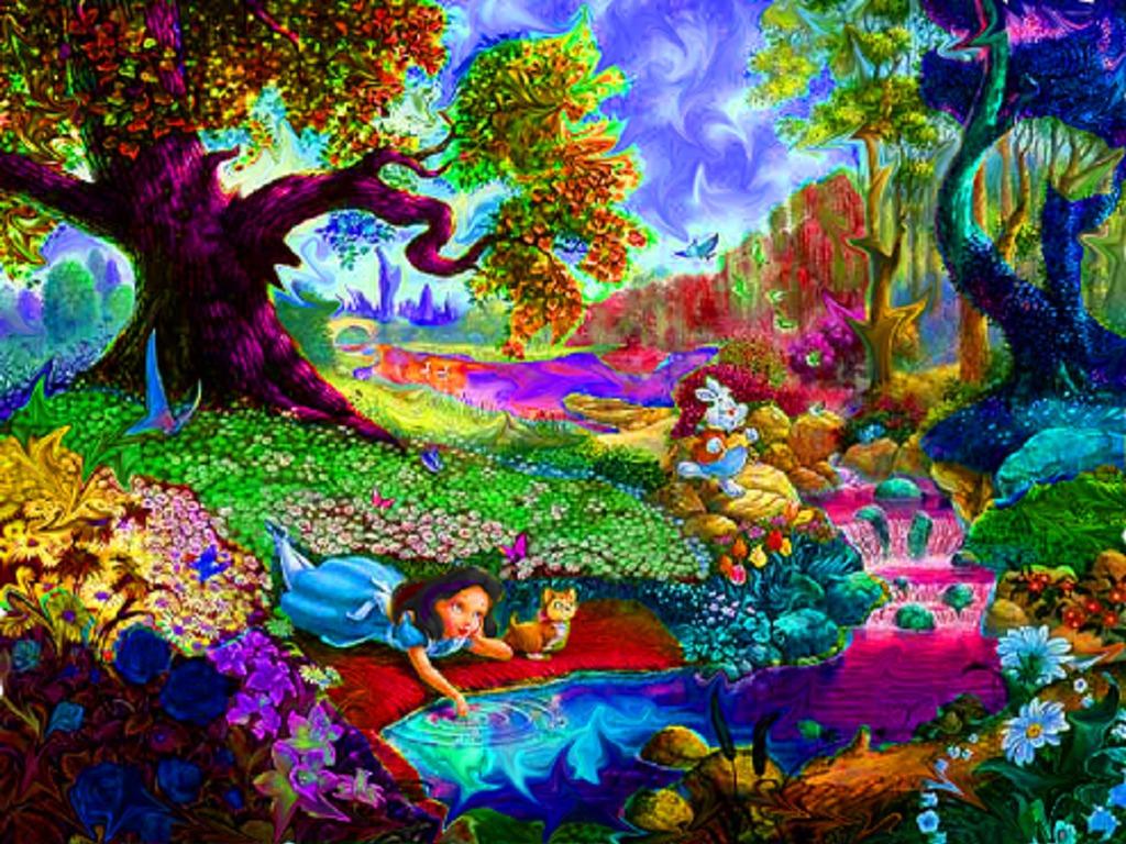 Alice In Wonderland Psychedelic Background