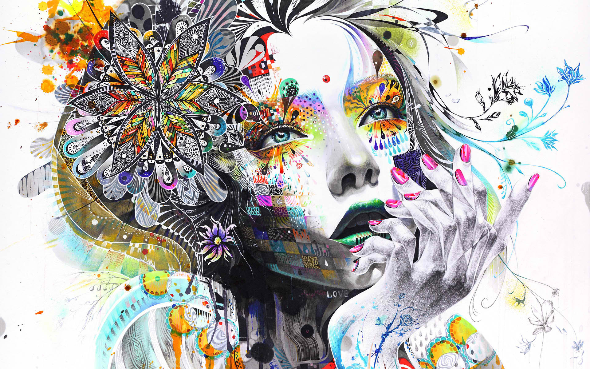 Girl Psychedelic Wallpaper