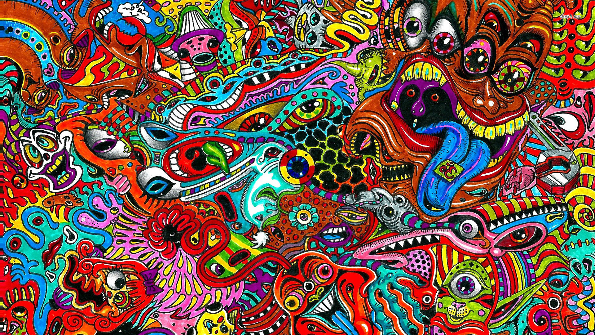 Large Trippy Psychedelic Wallpaper