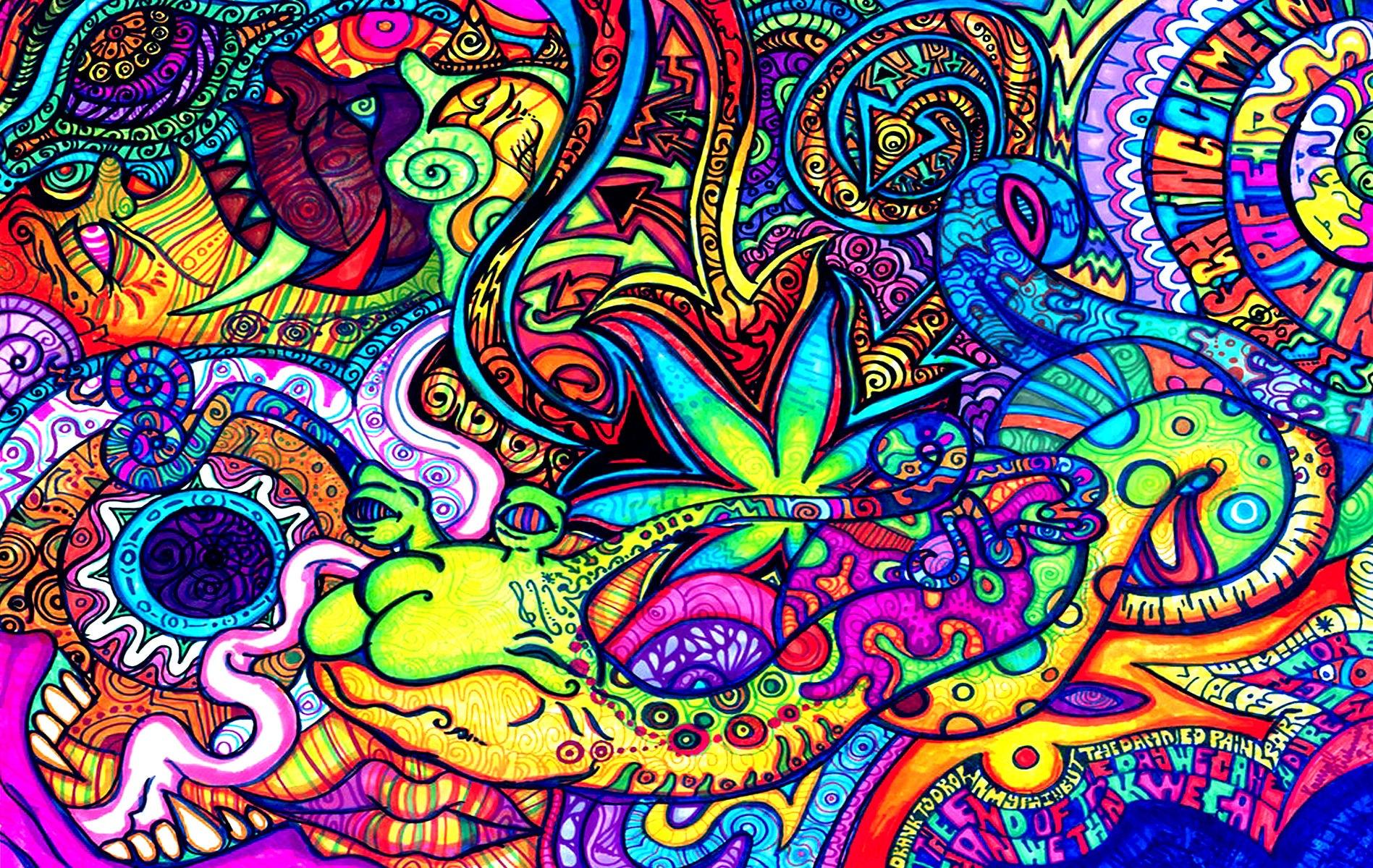 Marijuana Modern Psychedelic Wallpaper Hd