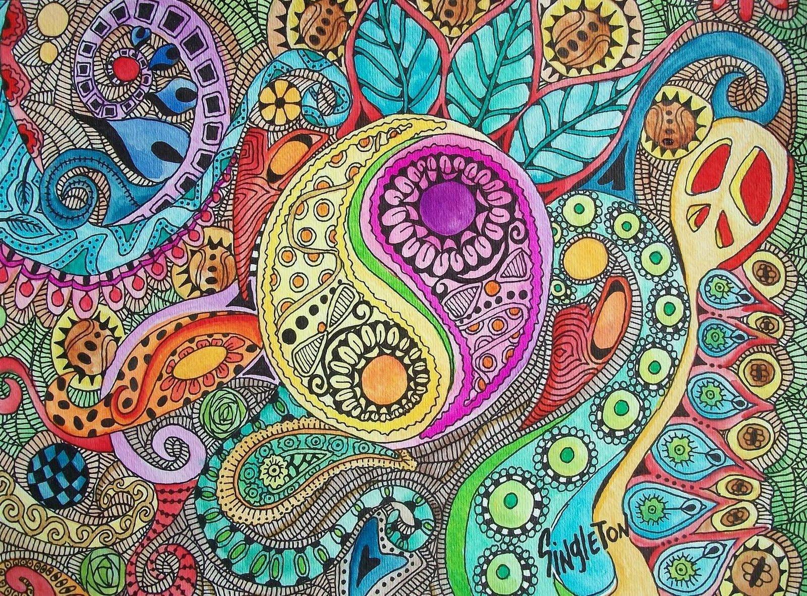 Negative Color Psychedelic Background