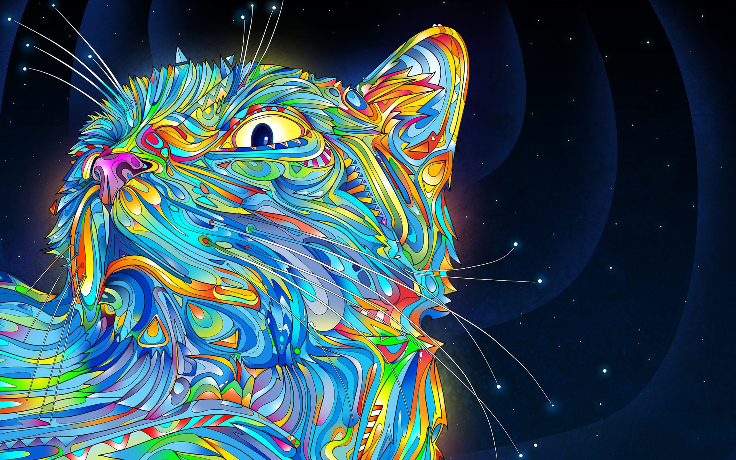 Psychedelic Wallpaper Cat