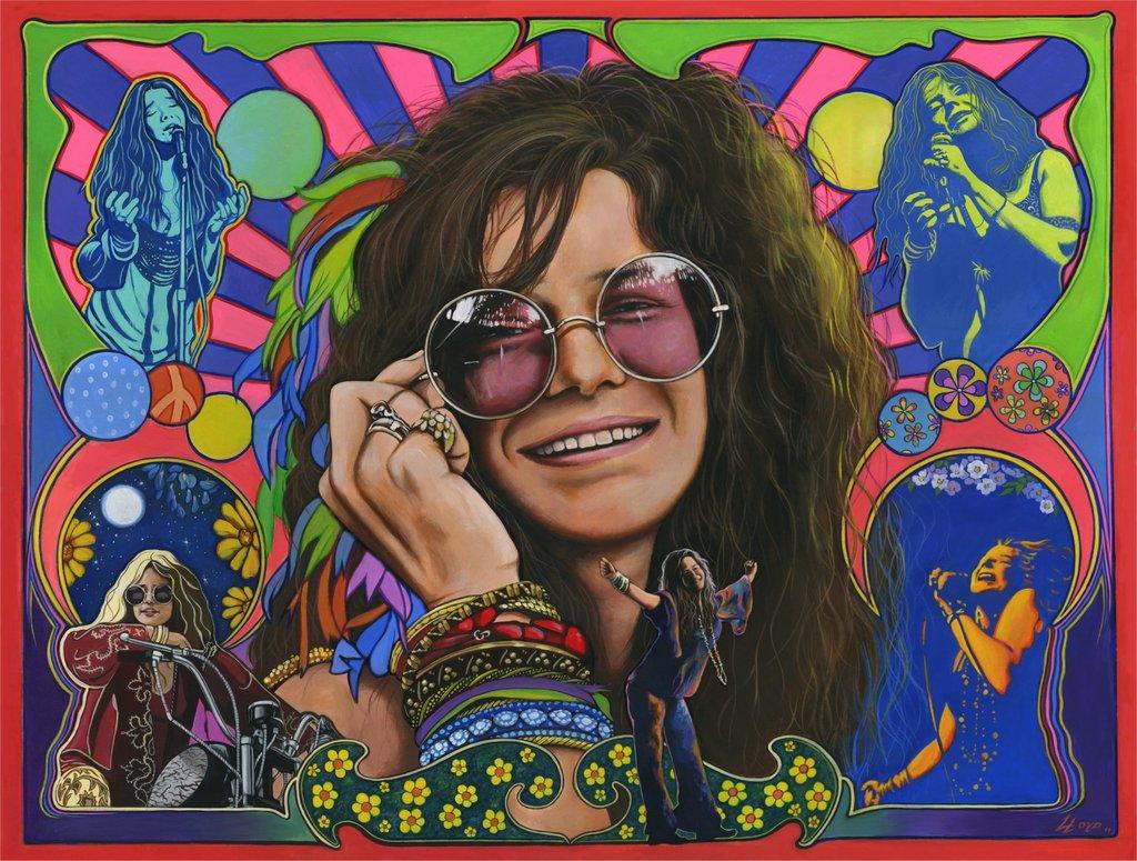 Psychedelic Wallpaper Of Janis Joplin