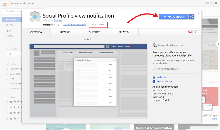 Social Profile view Notification