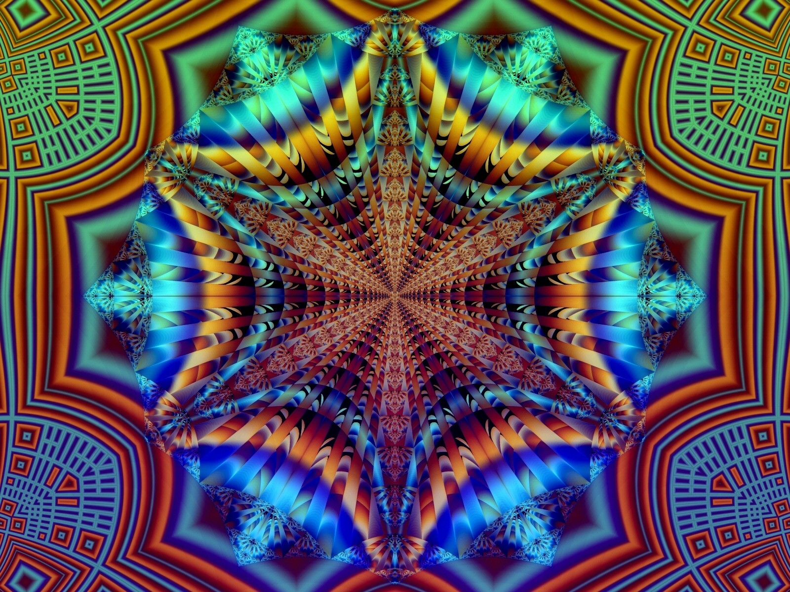 Turquoise Psychedelic Wallpaper